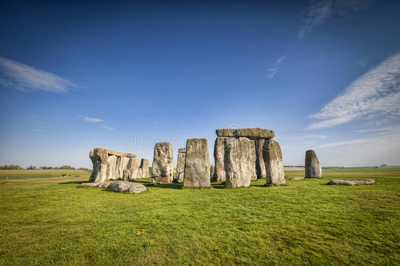 Stonehenge in Spring. The famous prehistoric stone circle at Stonehenge on a bright spring day royalty free stock photos