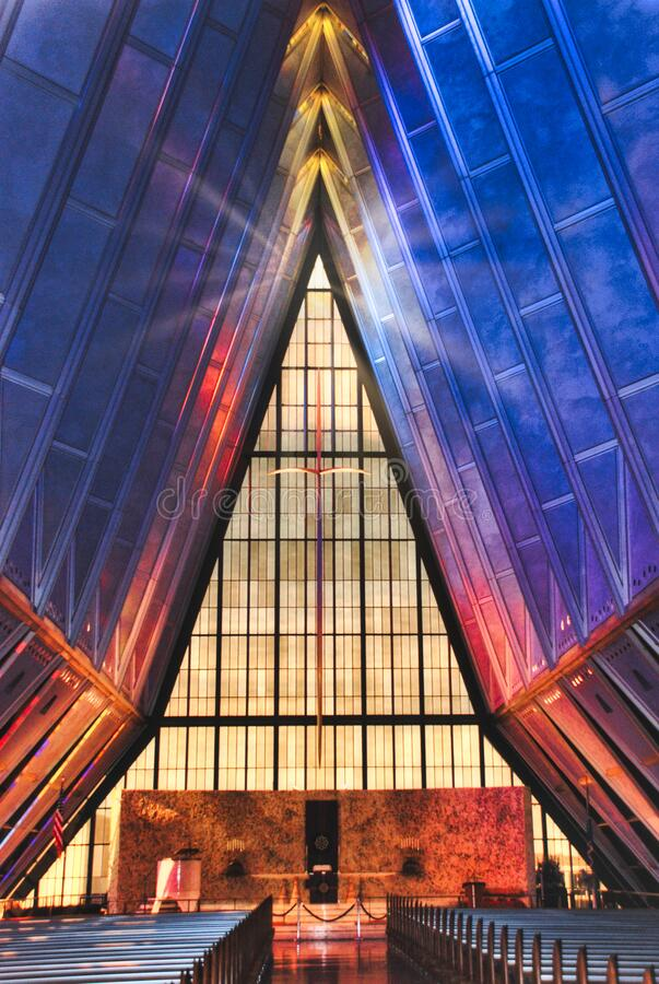 Protestant Chapel at the United States Air Force Academy Chapel in Colorado. This is the famous Protestant Chapel at the United States Air Force Academy in royalty free stock photo