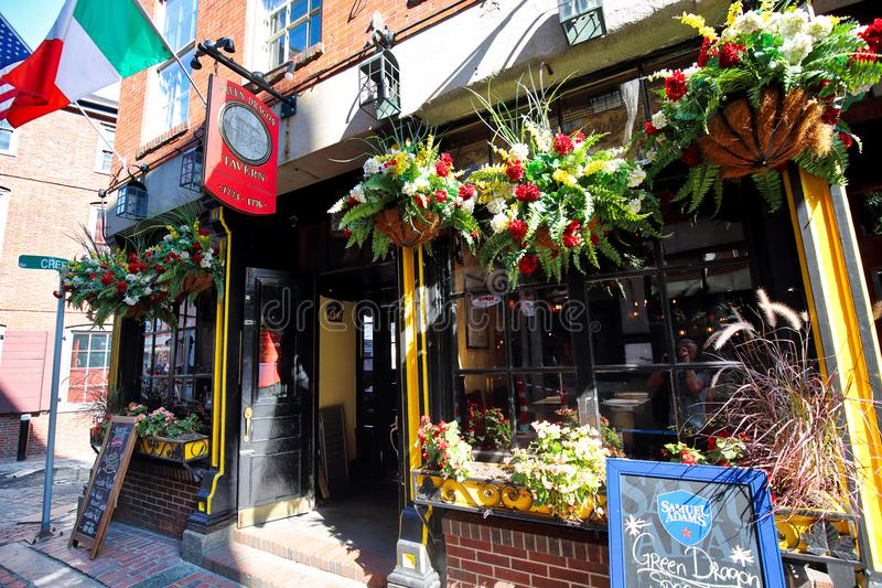 Famous pubs in Boston Harbor. And South Market royalty free stock images