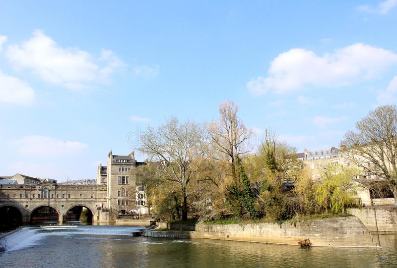 The famous Pulteney Bridge in Bath, UK on a sunny and warm spring day royalty free stock images