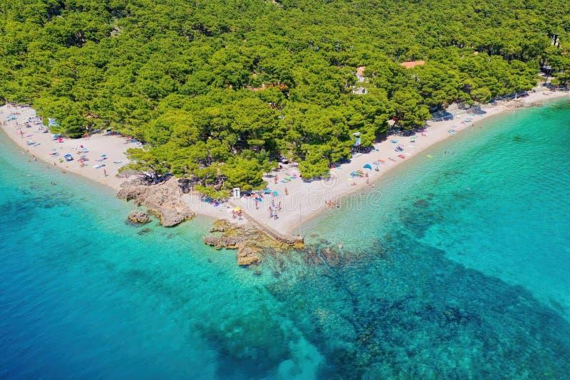 Punta Rata beach with azure sea in Brela, Dalmatia, Croatia royalty free stock image