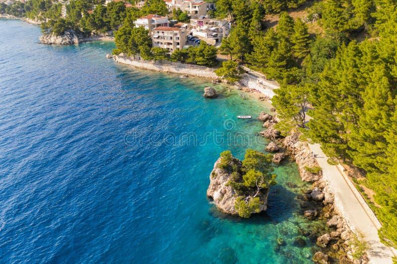 Punta Rata beach with little island in Brela, Dalmatia, Croatia royalty free stock photography