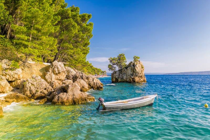 Punta Rata beach with little island in Brela, Dalmatia, Croatia stock photography