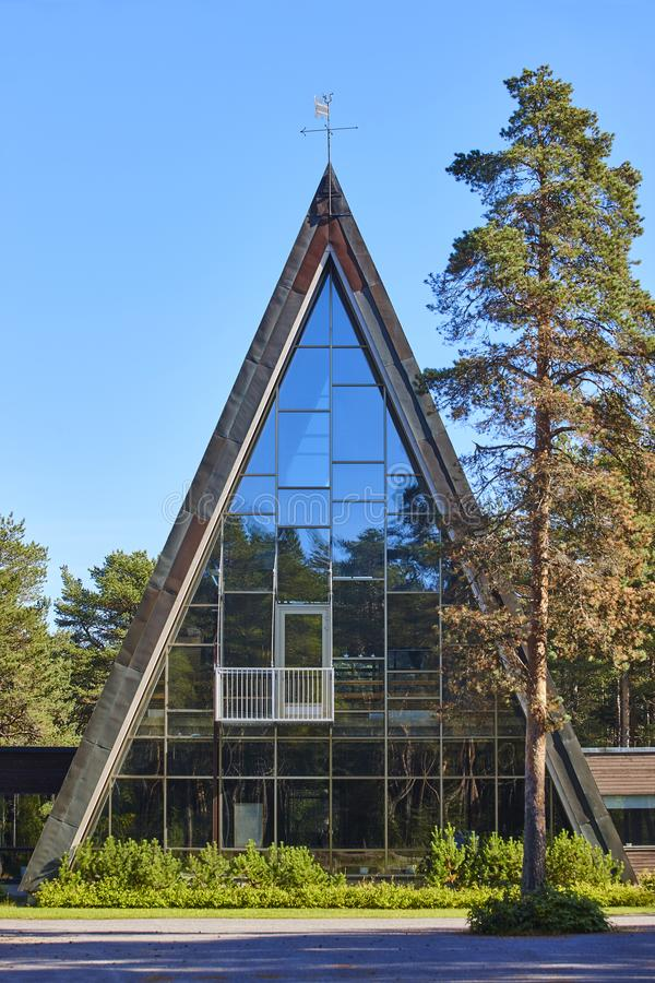 Famous pyramid shaped church in Hailuoto island. Oulu. Finland. Famous pyramid shaped church in Hailuoto island. Oulu area. Finland stock photo