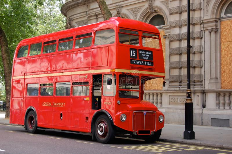 Famous red double decker London vintage bus. Old model vintage. stock image