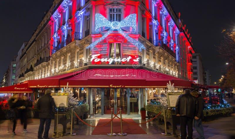 The famous restaurant fouquet`s paris france editorial