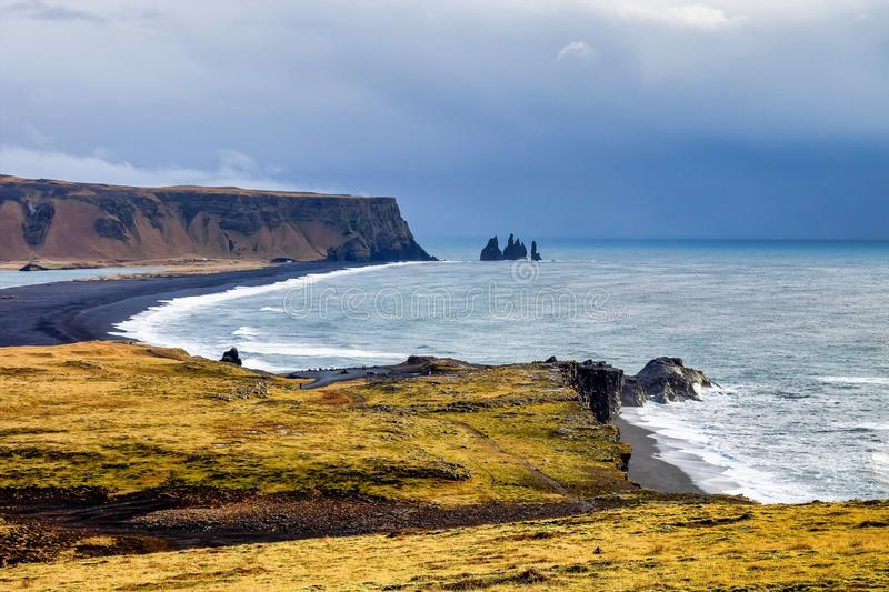 Famous Reynisdrangar cliffs at south coast of Iceland. Europe royalty free stock images