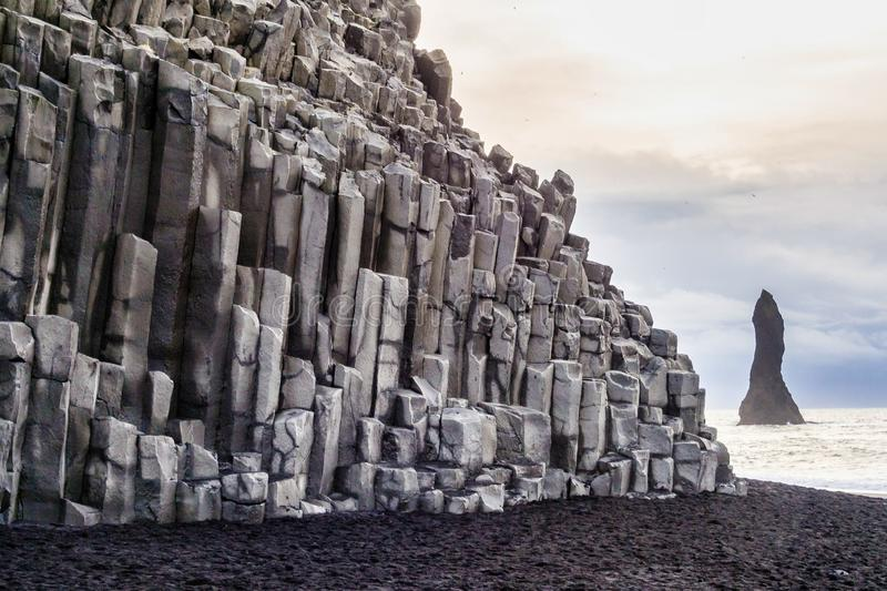 Famous Reynisdrangar cliffs at south coast of Iceland. Europe royalty free stock photo