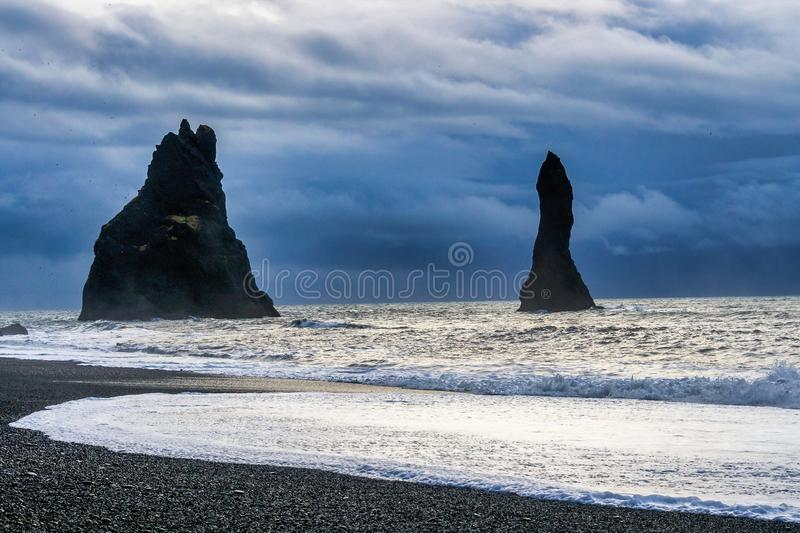 Famous Reynisdrangar cliffs at south coast of Iceland. Europe stock images