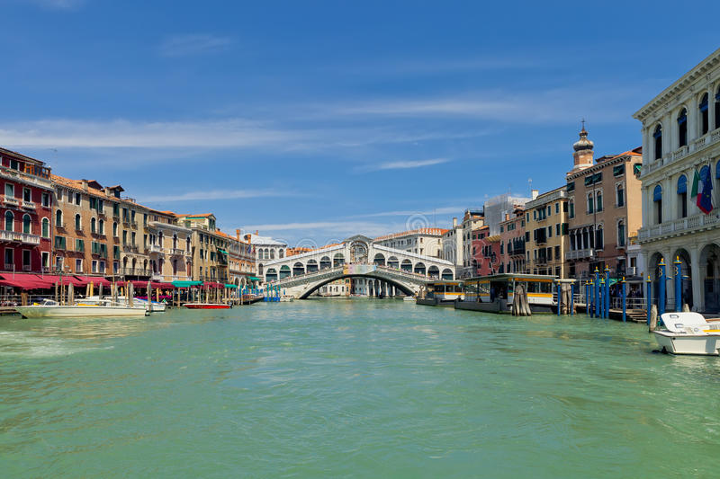 Famous Rialto bridge in Venice stock photo