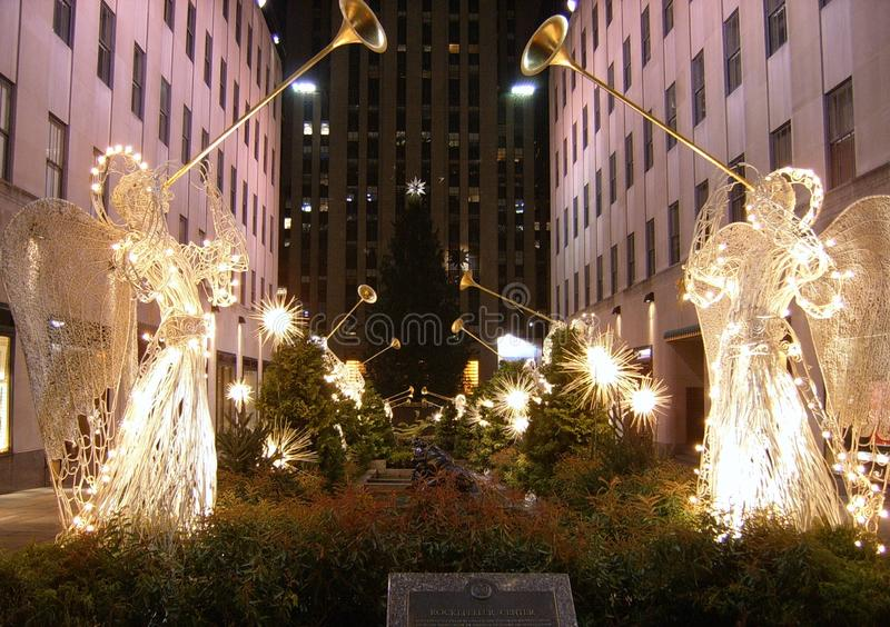 Famous Rockefeller Center Christmas tree as seen from 5th Avenue. Before the tree lighting stock photos