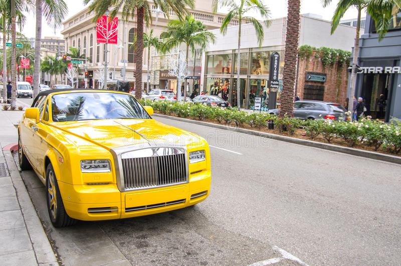 The famous Rodeo Drive in Beverly Hills royalty free stock photo
