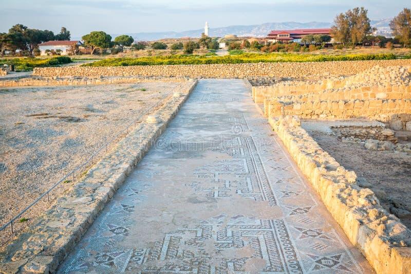 Famous roman Paphos Mosaics, Cyprus stock image