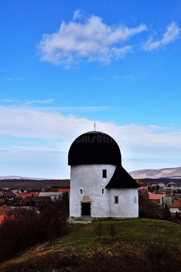 Round church of Öskü, Hungary royalty free stock photo