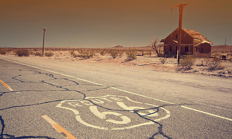Famous Route 66 landmark on the road. stock photography