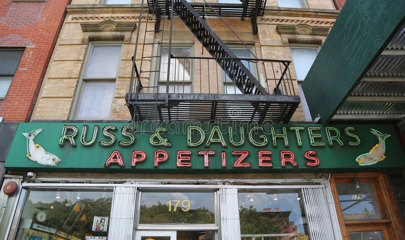 Famous Russ & Daughters appetizing store opened in 1914 in Lower East Side royalty free stock photos