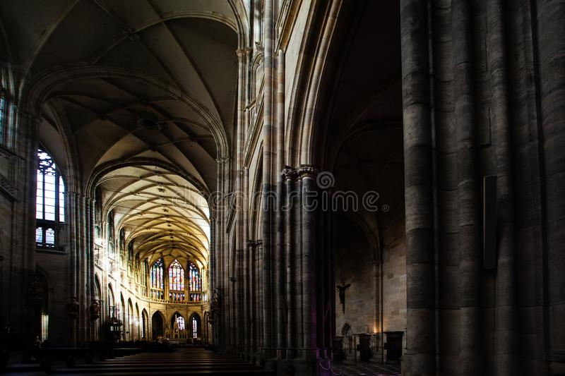 Famous Saint Vitus Cathedral in Prague Czech Republic, indoor interior royalty free stock photo