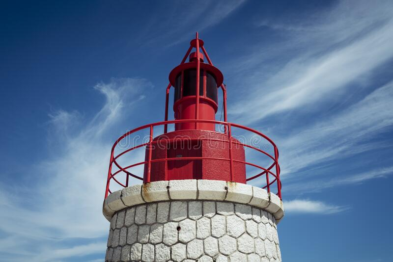 Famous Sanary red lighthouse royalty free stock photography