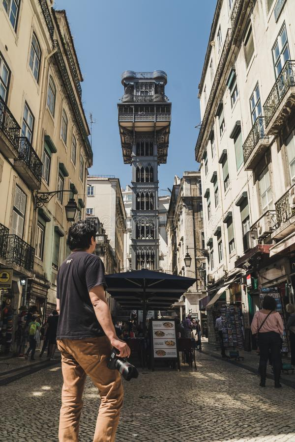 Famous Santa Justa lift in the historic downtown of Lisbon, Portugal. Currently serves as a lookout for tourists. The elevator, a royalty free stock images