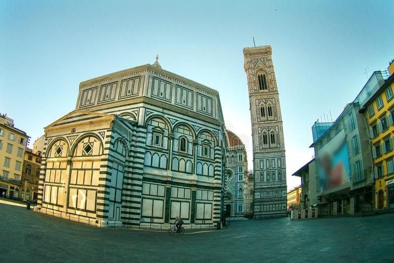 Famous Santa Maria del Fiore cathedral church with Baptistery in Florence. stock image