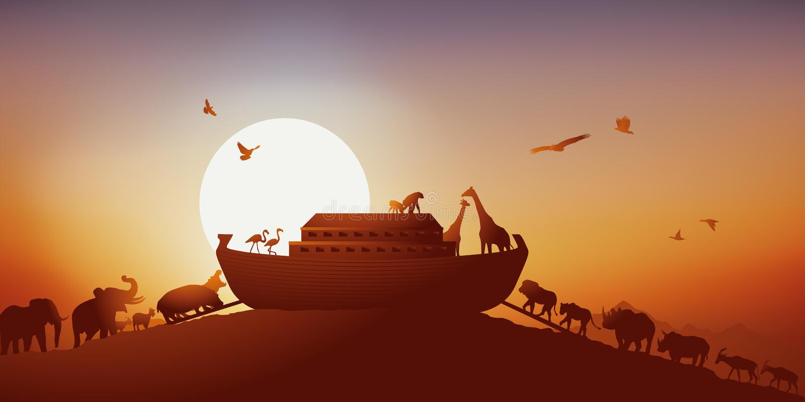 Famous legend of Noah's ark before the flood. Famous scene of the Bible where all the animal species of the earth rise in the ark of Noah, to escape the vector illustration