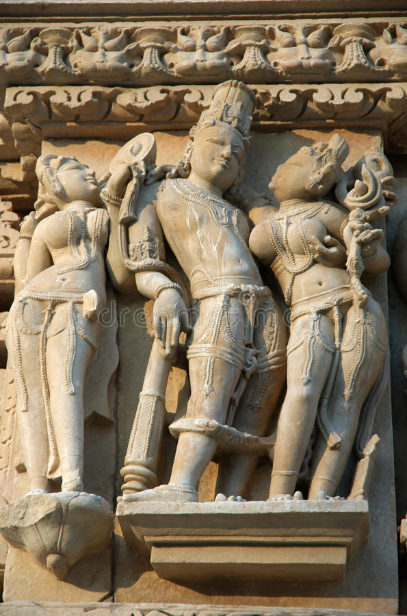 Famous scenes on the wall of hindu temple in Khaj royalty free stock photo