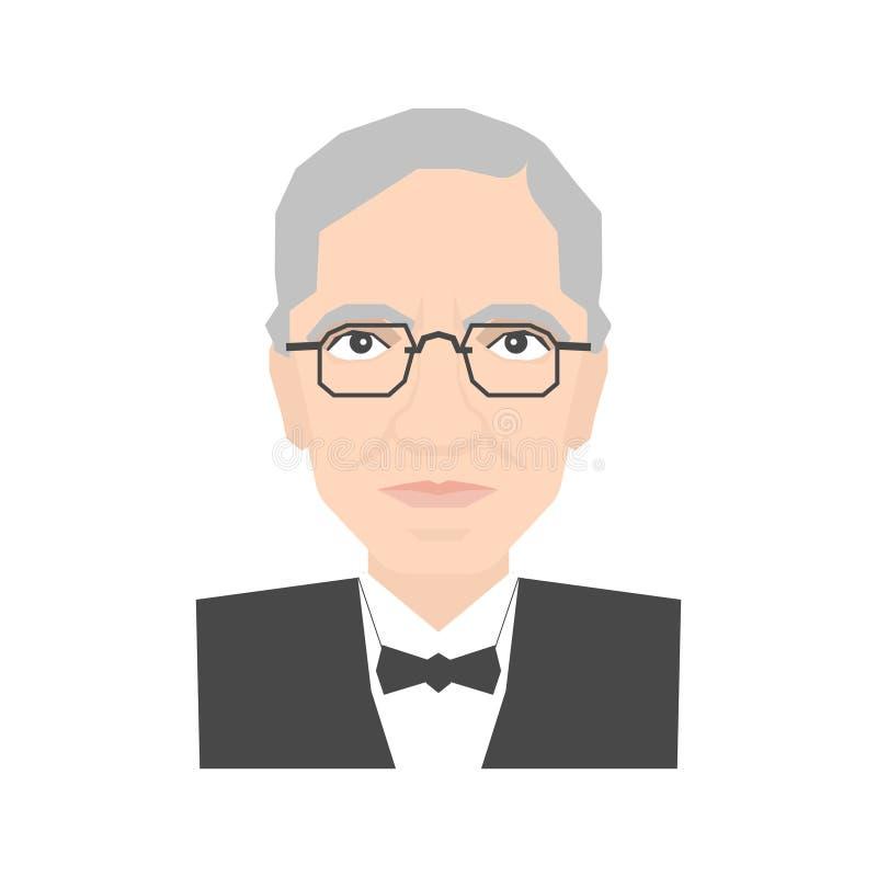Famous scientist portrait vector illustration