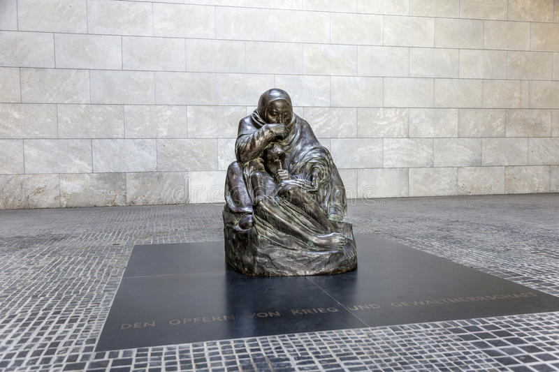 Famous sculpture from artist Kaethe Kollwitz in the Berliner Wac stock photography