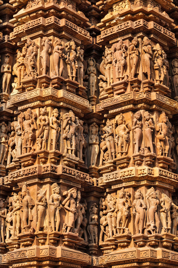 Famous sculptures of khajuraho temples india stock photo