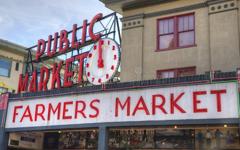 Famous Seattle Pike Place Farmer's Market stock photos
