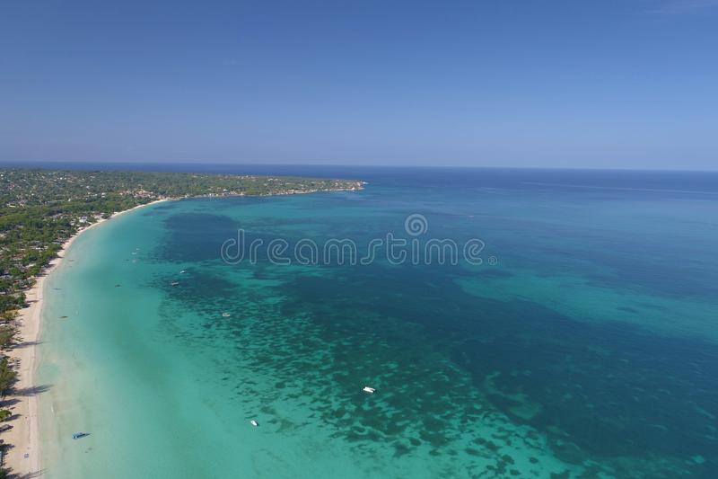 The famous Seven Mile Beach Negril Jamaica stock image