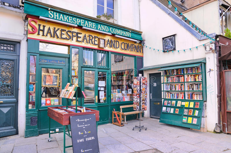 The famous Shakespeare and Company bookstore. PARIS - MAR 2: The famous Shakespeare and Company bookstore on March 2, 2014 in Paris, France. It was featured in royalty free stock photos