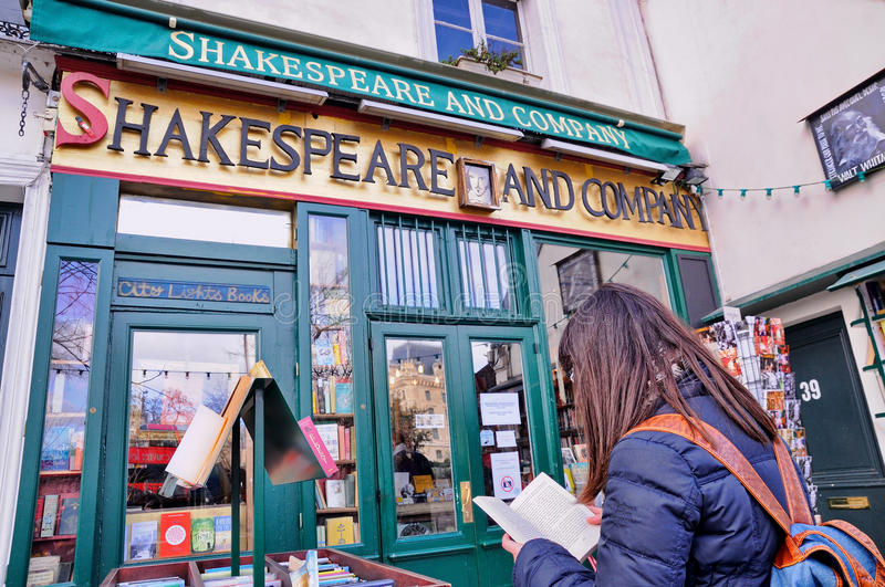 The famous Shakespeare and Company bookstore. PARIS - MAR 2: The famous Shakespeare and Company bookstore on March 2, 2014 in Paris, France. It was featured in stock photos