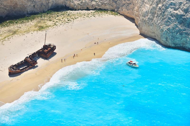 Famous shipwreck bay, Navagio beach, Zakynthos island, Greece. One of the most popular places on the planet stock images