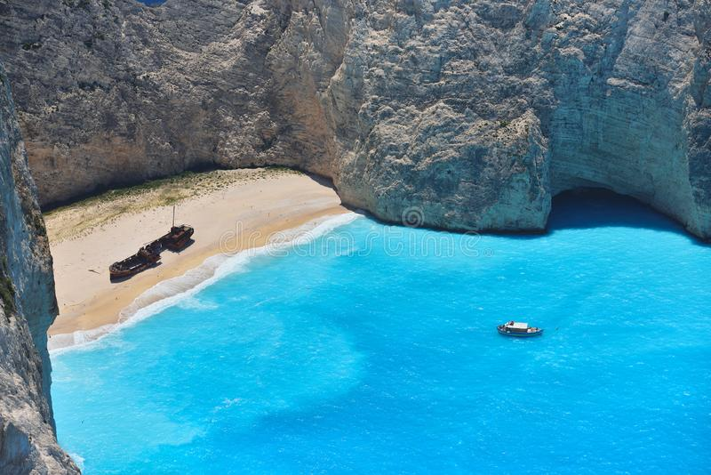 Famous shipwreck bay, Navagio beach, Zakynthos island, Greece. One of the most popular places on the planet.  stock photo