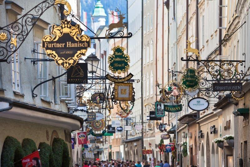 Famous shopping street in Salzburg, Austria stock photos