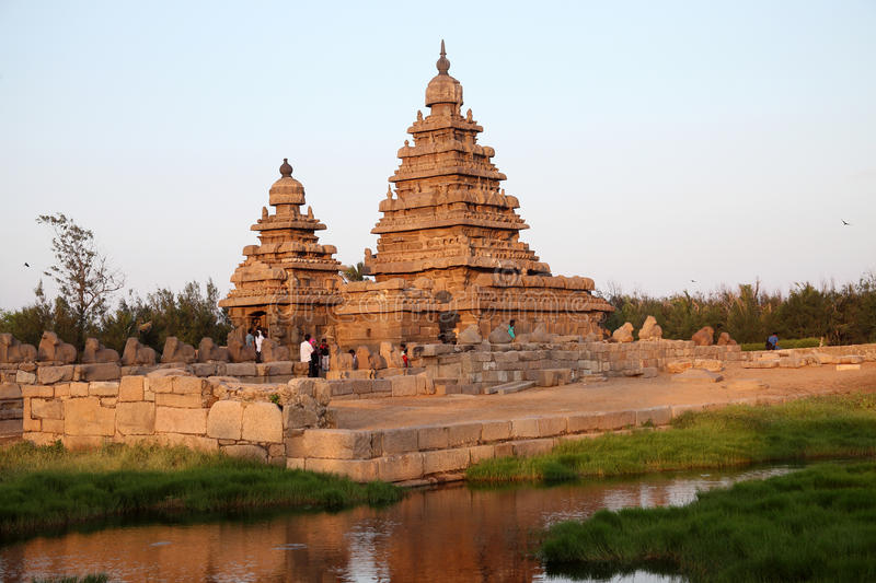 Famous shore temple Mahabalipuram, Tamil Nadu, India. Famous shore temple with thousands of sculptures - Shore temple the UNESCO world heritage site in royalty free stock photo