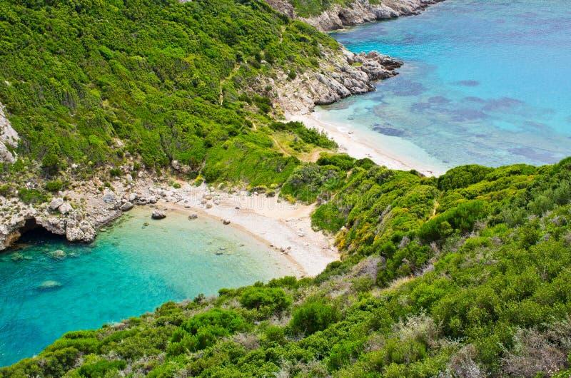 Famous 2 side Porto Timoni beach, Corfu, Greece stock photography
