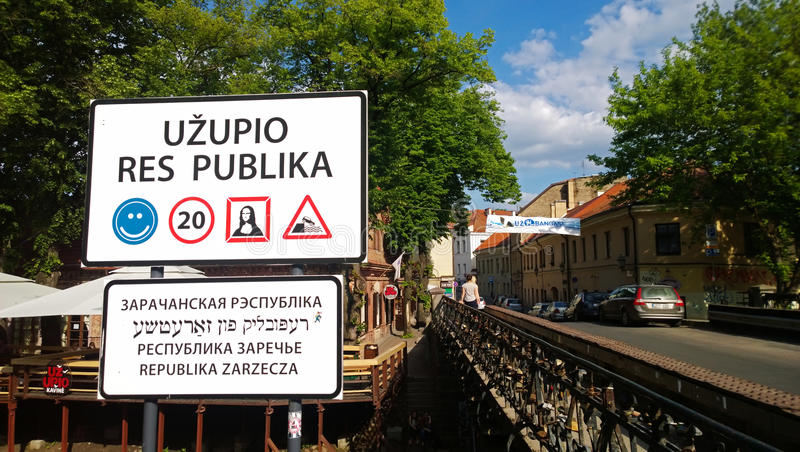The famous sign at the entrance to the district Uzupis stock photos