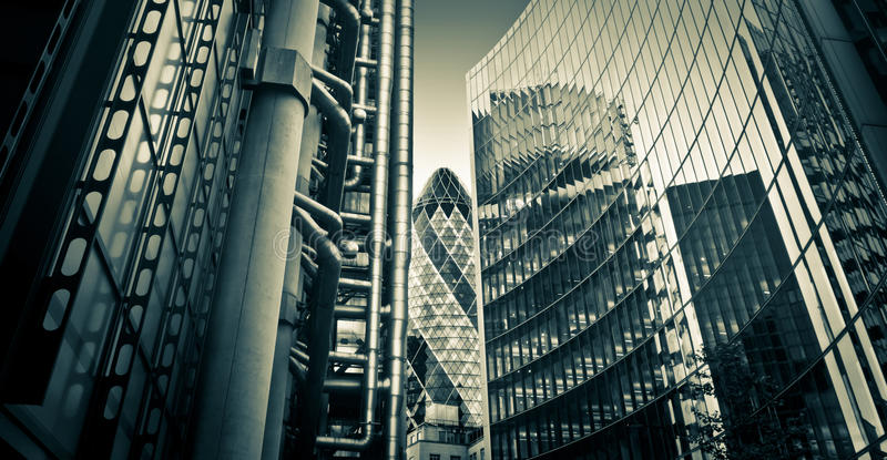 Famous skysrcapers, financial district of London stock images