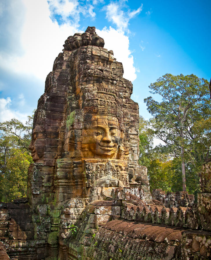 Famous smile face statues of Prasat Bayon temple, Cambodia. Famous smile face statues of Prasat Bayon temple at Angkor Thom, near Siem Reap, Cambodia stock images
