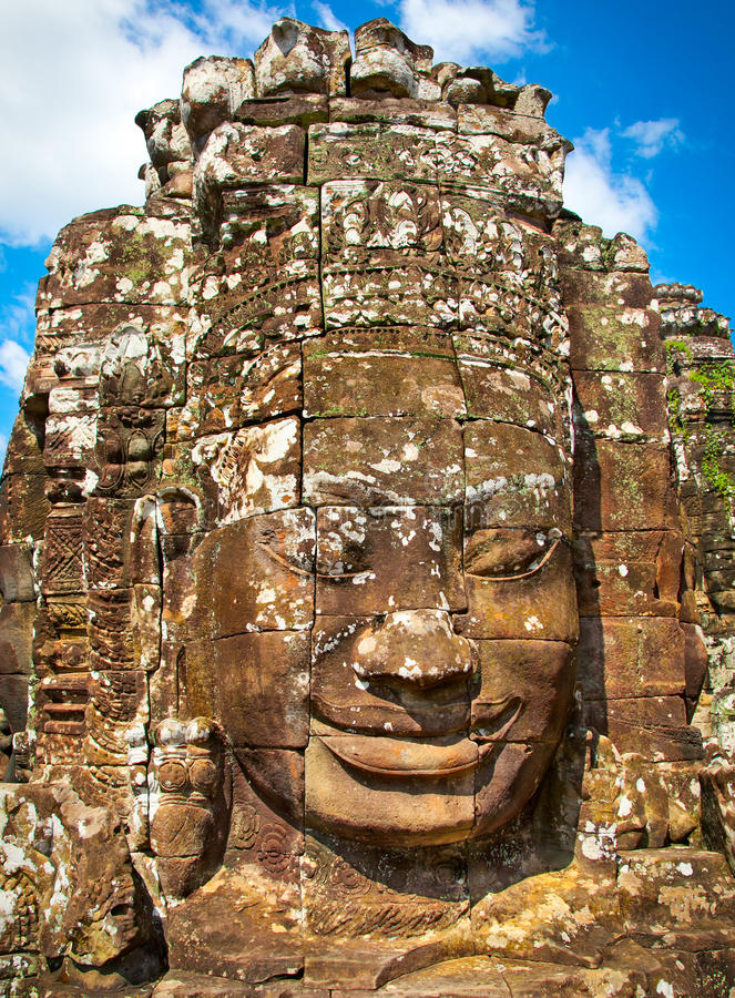 Famous smile face statues of Prasat Bayon temple, Cambodia. Famous smile face statues of Prasat Bayon temple at Angkor Thom, near Siem Reap, Cambodia stock photography