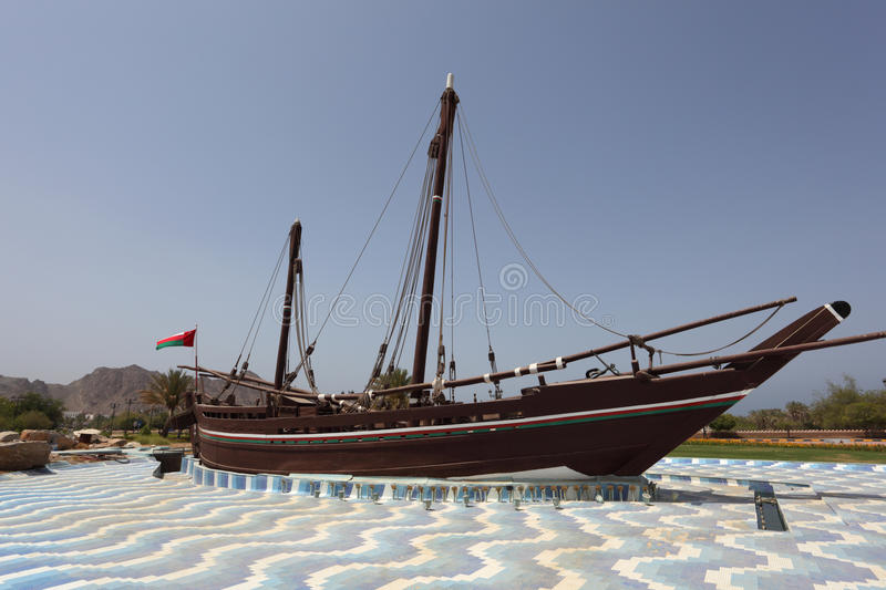 Famous Sohar boat, Muscat. Famous Sohar boat from Omani seafarer Ahmed bin Majid at the Al Bustan Roundabout in Muscat Oman stock photo