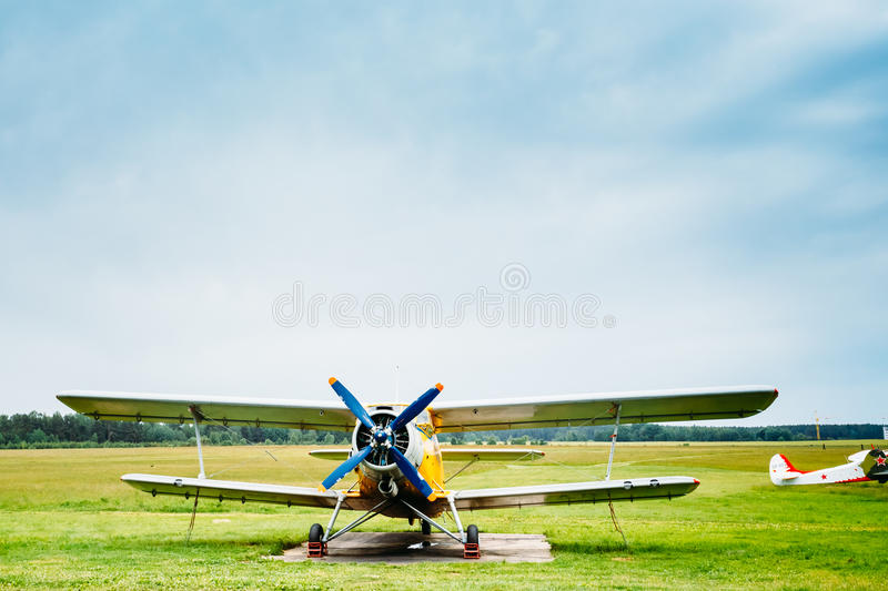 Famous soviet plane paradropper Antonov An-2. Famous soviet light transport aircraft plane paradropper Antonov AN-2 stands at aerodrome stock images