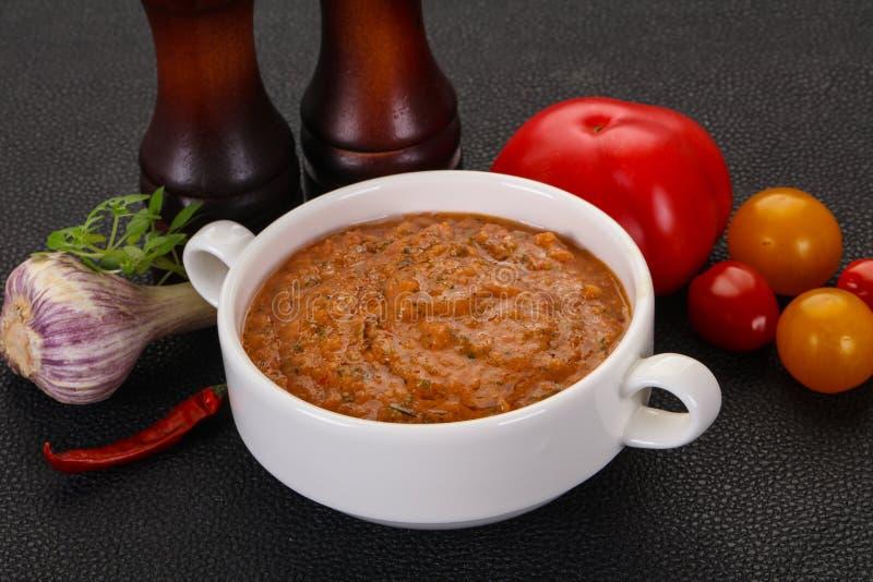 Famous Spanish gazpacho tomato soup stock photography