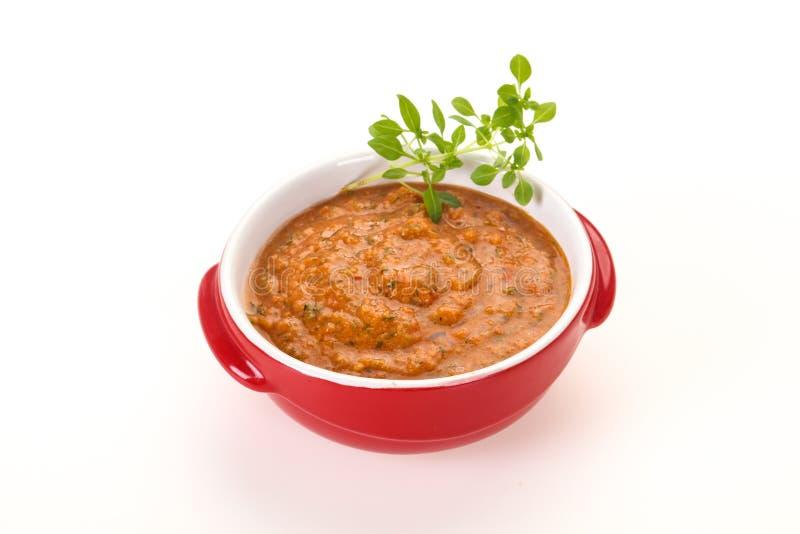 Famous Spanish gazpacho tomato soup royalty free stock photos