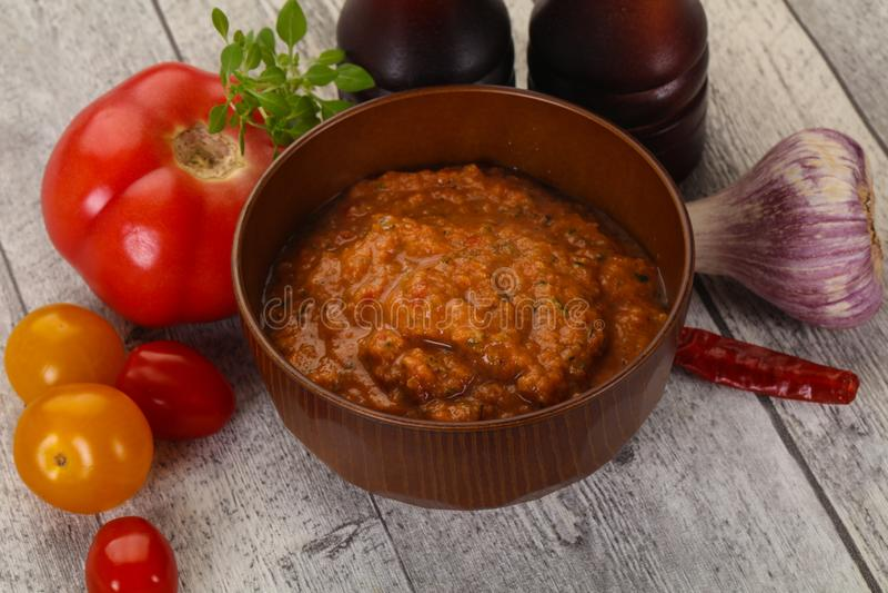 Famous Spanish gazpacho tomato soup royalty free stock photo