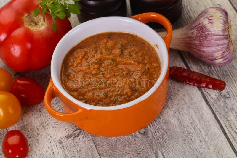Famous Spanish gazpacho tomato soup stock photos