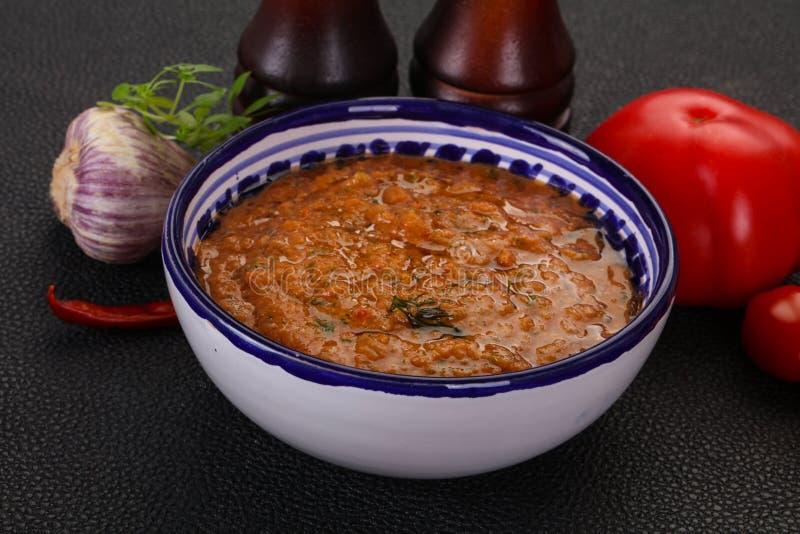 Famous Spanish gazpacho tomato soup stock photo