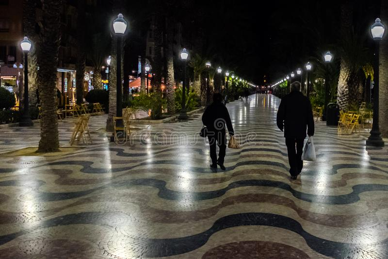 Famous Square La Explanada in Alicante Spain stock image